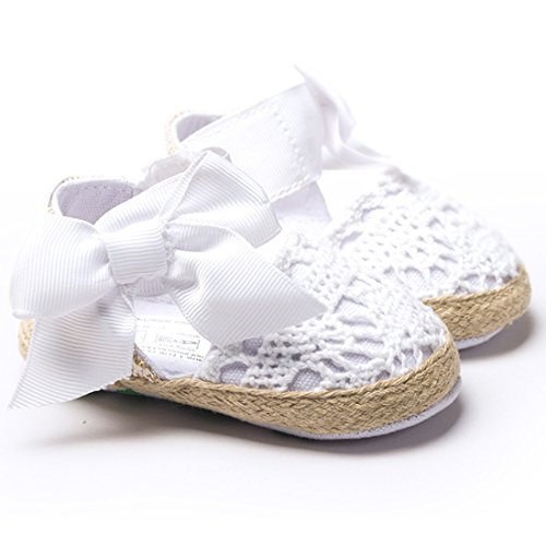 DESDEMONA Newborn Baby Infant Girls Bow Tie Crochet Knit Socks Crib Shoes Prewalker 3-12 Months (L, White)