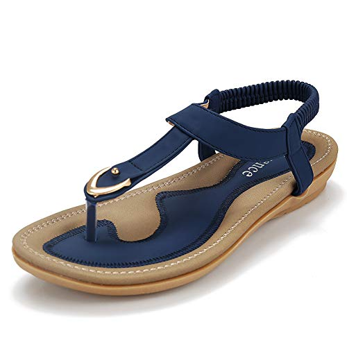 Harence Women's Summer Sandals Casual Comfortable Flip Flops Beach Shoes Ankle T-Strap Thong Elastic Flat Sandals for Women Blue