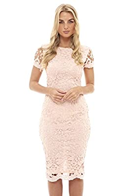 AX Paris Women's Crochet Lace Midi Dress