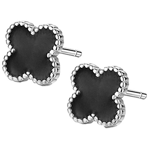 Sterling Silver Agate - Sterling Silver Plated Black Onyx Agate Beads Sided Four Clover Flower Womens Stud Earrings