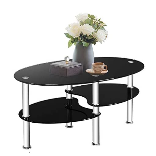 Tangkula Glass Coffee Table 2 Tier Modern Oval Smooth Glass Tea Table End Table For Home Office With 2 Tier Tempered