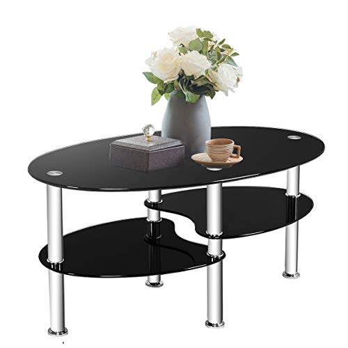 TANGKULA Glass Coffee Table, 2-Tier Modern Oval Smooth Glass Tea Table End Table for Home Office with 2 Tier Tempered Glass Boards & Sturdy Chrome Plated Legs
