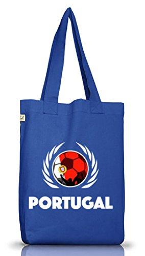 Wappen Fussball WM Fanfest Gruppen Jutebeutel Stoffbeutel Earth Positive Fußball Portugal Bright Blue Kmambx5