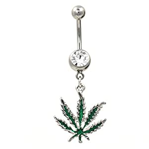 Green marijuana pot leaf dangle navel ring for Belly button jewelry store
