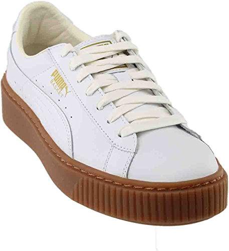 PUMA Women's Basket Platform Core Sneaker, White White,8 M US