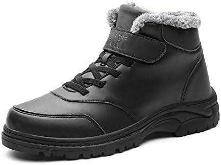男性のスポーツシューズラウンドトウレースアップ合成皮革フリースのためのアンクルブーツは、高齢者の歩行ノンスリップのために暖かいショートチューブフック&ループ安全ブーツを裏地 YueB HAC (Color : ブラック, サイズ : 25 CM)