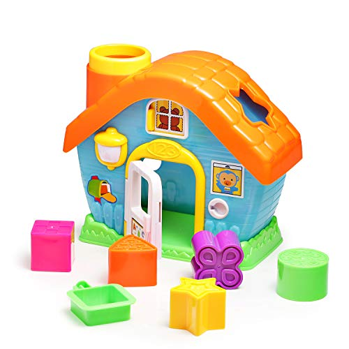 infunbebe Shape Sorting House Toy My First House with Shape and Color Sorters, Early Development Shape and Color Recognition Toy with 5 Colorful Blocks for 12+ Months Babies