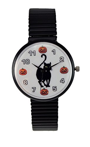 Women's Halloween Watch Black Cat Pumpkin Watch Black Stretch Band ()
