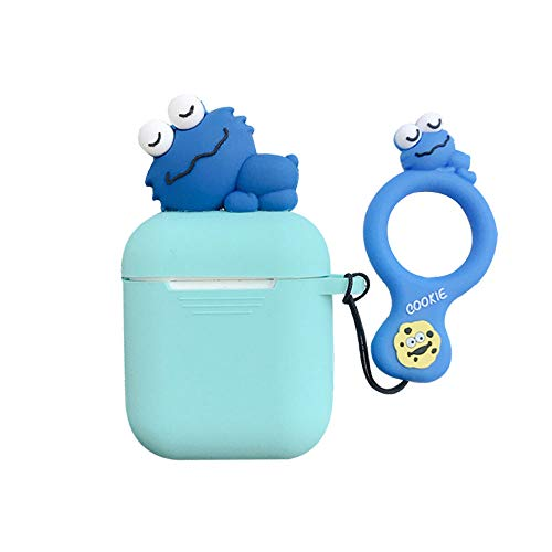 UR Sunshine AirPods Case, Super Cute Funny Lying Cartoon Animal Soft Silicone Case Cover Protective Skin for AirPods1/AirPods 2+Ring Lanyard-Cookie Monster