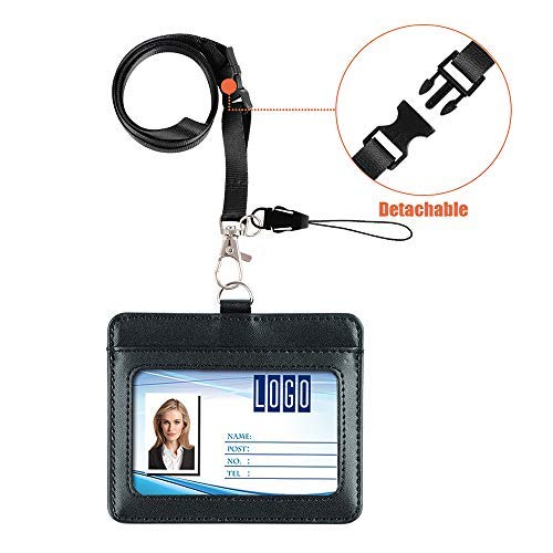 Badge Holder, Life-Mate Double Sided Thicker PU Leather ID Badge Card Holder Wallet Case with 2 Cards Slot and 20