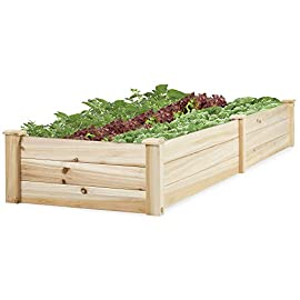 Best Choice Products 96x24x10in Outdoor Wooden Raised Garden Bed Planter for Vegetables, Grass, Lawn, Yard - Natural 19 BUILT TO LAST: Made of natural Chinese Fir wood to provide a gardening solution constructed to last through every season without discoloring or rotting over the years EASY ASSEMBLY: Pre-sanded panels built with dovetail joints slide together and lock in place with screw-fastened posts for a quick, sturdy assembly MAXIMIZE SPACE: 8-foot garden bed provides ample space for plants to grow with an included liner to separate the wood from the soil and keep it in excellent condition