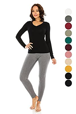 The Classic Woman's Basic Kint V-Neck Slim Fit Long Sleeve Thermal T Shirt Top