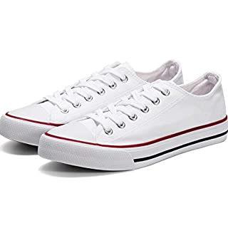 Womens Canvas Shoes Casual Cut Low Top Sneaker Fashion Lace-up Light Classic Comfortable(White-9)