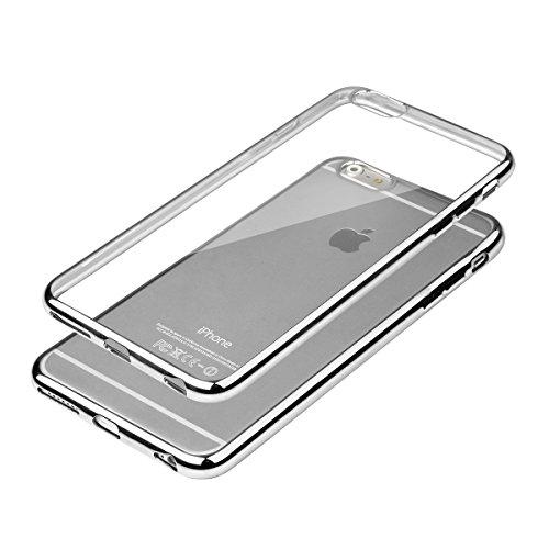 In silicone TPU cromo Case Cover protettiva per cellulare metallizzato Back Case con custodia trasparente colorata bordo cover contenitore retro Sparkles Bumper, Plastica, argento, für iPhone 6/6s Plu