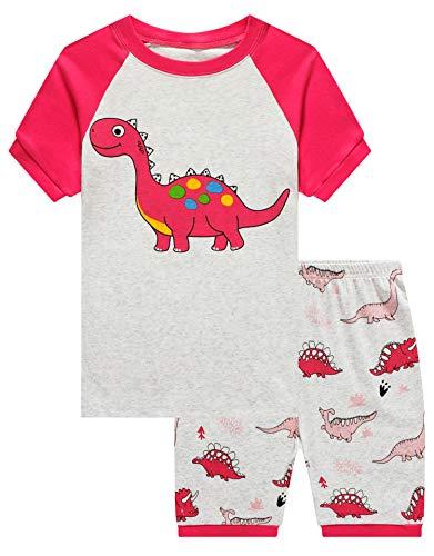 KikizYe Big Girls Dinosaur Pajamas Short Sets 100%