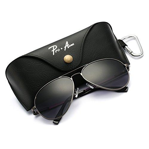 Pro Acme Oversized Aviator Sunglasses for Men Women Polarized Mirrored Lens – UV 400 with Case (Gunmetal/Grey gradient)