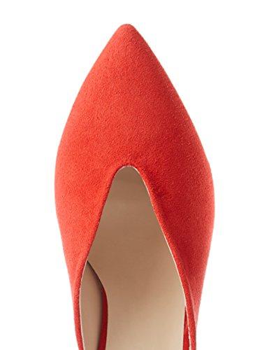 FIND Zapatos Abiertos de Piel para Mujer Rojo (Red)
