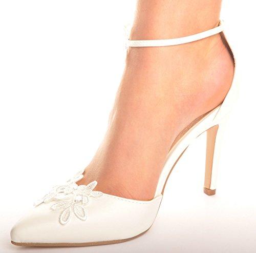 Blanquecino Cordon y Diamantes Otros Cueros Zapatos Puntiagudo Tacone de la Boda Sandalias de Novia