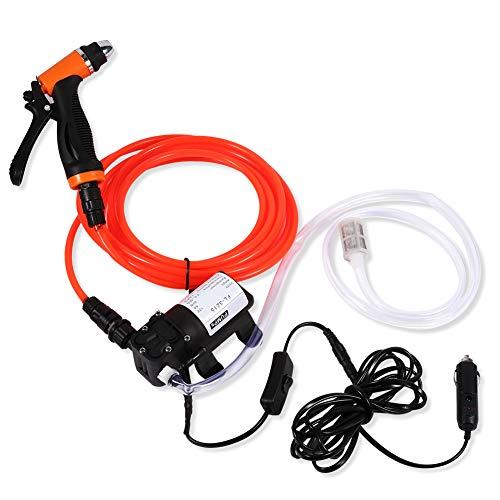EBTOOLS 12V Car Wash Pump Portable High Pressure Car Electric Washer Pump Self-Priming Quick with 6 M Pressure Washer Hose 130PSI