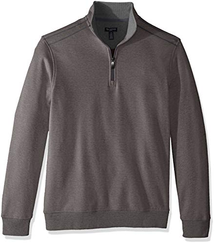 Van Heusen Men's Long Sleeve Spectator Solid 1/4 Zip Shirt, grey nickel grey, Large