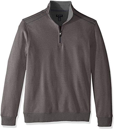 Van Heusen Men's Long Sleeve Spectator Solid 1/4 Zip Shirt, grey nickel grey, X-Large
