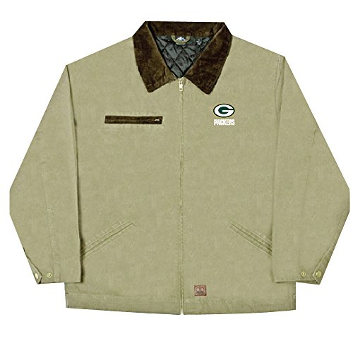NFL Green Bay Packers Tradesman Canvas Quilt Lined Jacket, Taupe, XX-Large by Dunbrooke Apparel