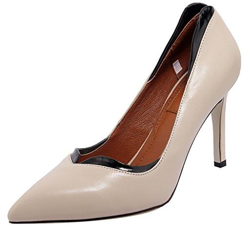 Calaier Damen Jtabp 9CM Stiletto Schlüpfen Pumps Schuhe Beige