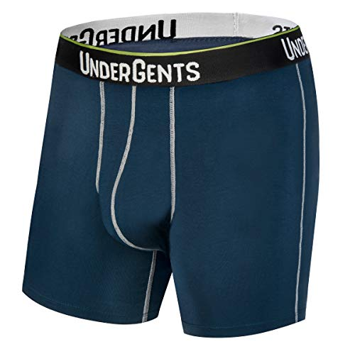 (UnderGents Men's Boxer Brief Underwear. CloudSoft Cooling Comfort Without Compression (Navy Blue Size: Large))
