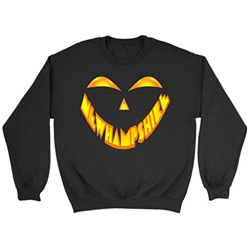 New Hampshire Jack O' Lantern Pumpkin Face Halloween Costume Sweatshirt, 3XL