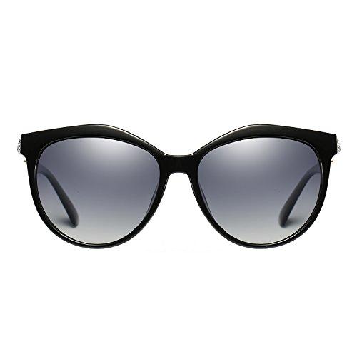VeBrellen Women's Shades Polarized Sunglasses for Women UV Protection Eyewear Transparent Frame (Black Frame Gray Lens)