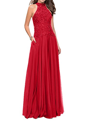 Neckholder Abendkleider Chiffon Braut mia Festlichkleider Rot La Brautmutterkleider Lang 2018 mit Spitze ta7wZWUnq