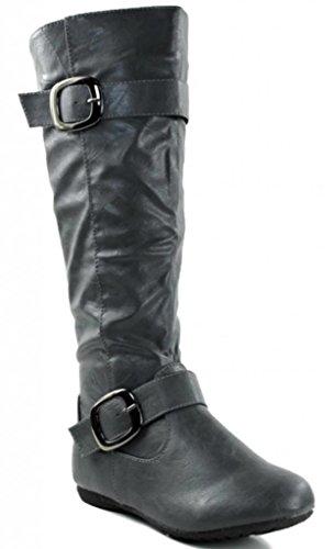 Kali Chaussures Femmes Leçon Genou Haut Plat Bottes De Mode Gris