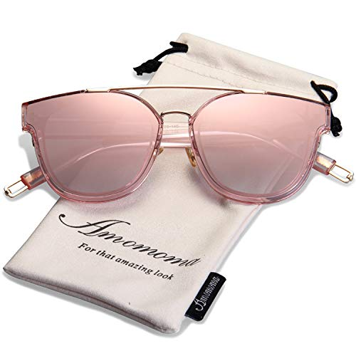 (AMOMOMA Fashion Oversized Mirrored Sunglasses for Women Double Bar Shades AM2028 Rose gold frame/Pink mirrored lens)