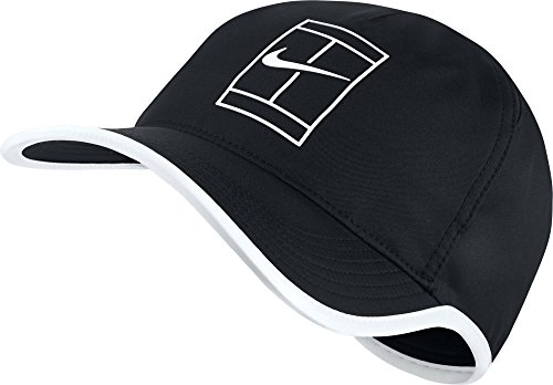 NIKE Mens Featherlite Aerobill Court Tennis Hat Black/White - Hat Fit Dri Tennis Nike