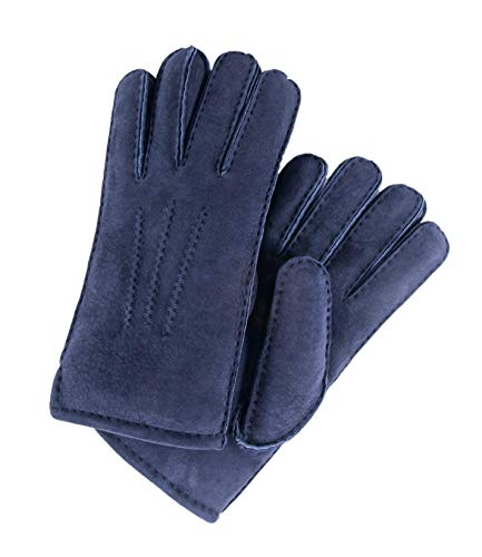 Powder Wool Blue (YISEVEN Men's Merino Rugged Sheepskin Shearling Leather Gloves Mittens Sherpa Fur Short Cuff Thick Wool Lined and Heated Warm for Winter Cold Weather Dress Driving Work Xmas Gifts, Navy Blue Medium)