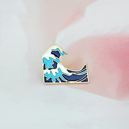 Amazon com : Blue Waves Brooch Enamel Pin Buckle Cartoon