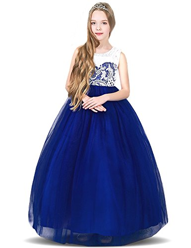 - TTYAOVO Girl Lace Tulle Flower Princess Party Maxi Dress Kids Prom Ball Gown Size 12-13 Years Dark Blue