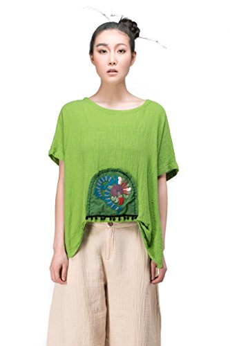 JIQIUGUER Original Ethnic Embroidery 100% Cotton Loose T-shirt Fruit Green Large