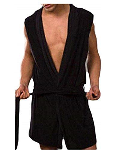 Men's Silk Bathrobe Hooded Sleeveless Open Front Sleepwear Pajamas (XXL, Black) ()