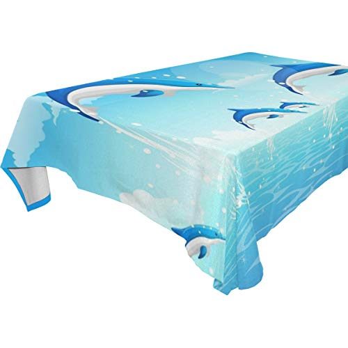 Table Cloth Abstract Dolphins Animal Rectangle/Oblong Polyester Tablecloth Washable Table Cover for Holiday Dinner, Wedding, Restaurant Party]()