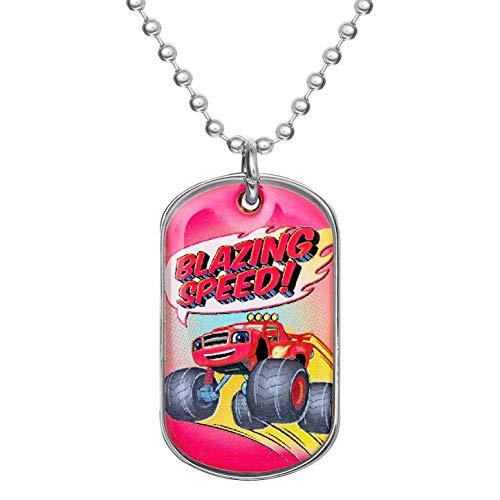 Nickelodeon Blaze Jewelry for Boys and Girls, Stainless Steel Blaze Dog Tag Logo Pendant, 20