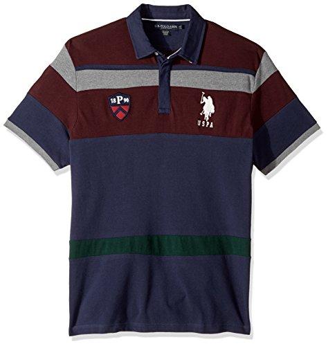 (U.S. Polo Assn. Men's Classic Fit Color Block Short Sleeve Pique Shirt, 8433-Classic Navy, M)