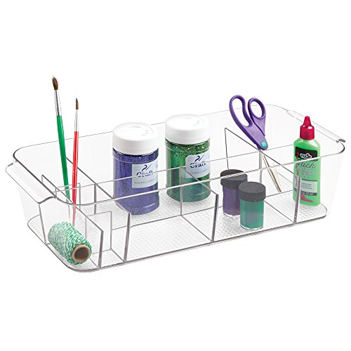 mDesign Art Supplies, Crafts, Crayons and Sewing Organizer Tote - Extra Large, Clear
