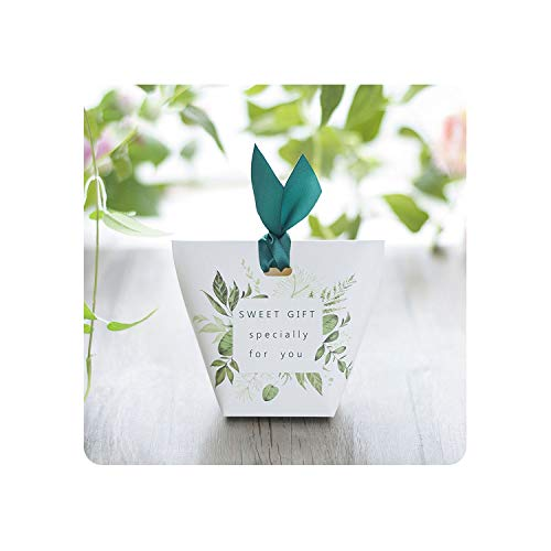 Green Tree Leaves Candy Box Wedding Favors and Gift Box Paper Bags Wedding Decorations Sugar Boxes,50 Pcs]()