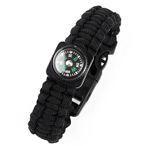 Paciffico Outdoor Multifunctional Emergency Tactical Paracord Bracelet With Fire Starter Compass Black Parachute Cord -