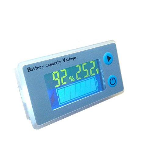 LCD Lead Acid Battery Capacity Meter Voltmeter with Temperature Display Battery Fuel Gauge Indicator Voltage Monitor (24V) ()