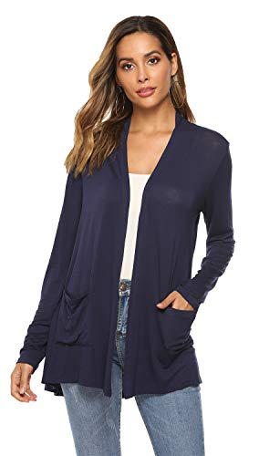 POGTMM Women's Casual Lightweight Summer Open Front Duster Long Sleeve Cardigan with Pockets (04Navy Blue, XL(16-18)) ()