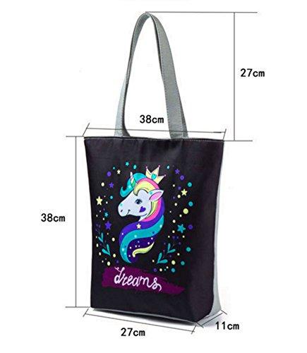 Unicorn Lovely Canvas Bag Bag Shoulder Lady A Beach Cartoon Women Meiyaa Tote Printed Bag YwIq1T4Ex