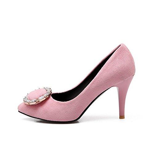 Punta Pompe Punta Smerigliato A Su scarpe Weenfashion Delle Solide Donne Rosa Tiro Tacchi Chiusa FTax1HWwqn