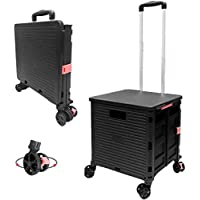 Foldable Utility Cart Folding Portable Rolling Crate Handcart with Durable Heavy Duty Plastic Telescoping 360 Four…